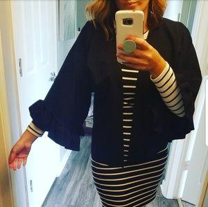 Boohoo Black Jacket with Wide Ruffle Sleeves
